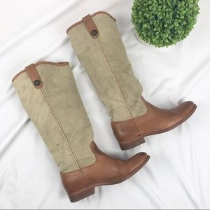 Frye Melissa tall canvas leather riding boots